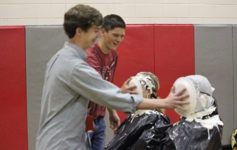 Teachers receive a pie to the face at HSAP pep rally