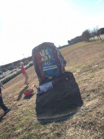 The rock still proudly displays the uplifting message, able to be seen by anyone who passes our school. (Photo by Gannon Cline/contributor)