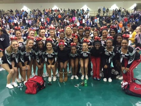 South Pointe cheerleading team at the State Qualifier competition. (Photo contributed by Kinsey Parrish)