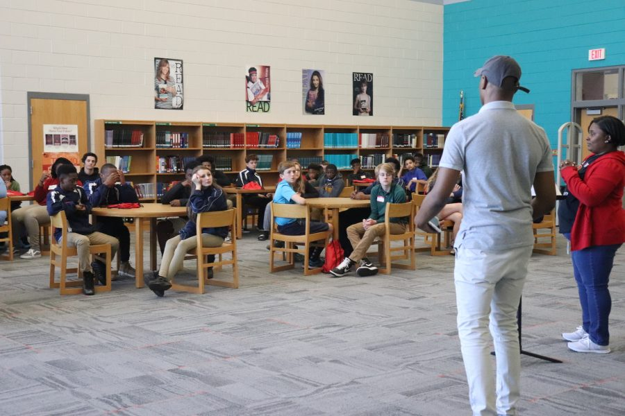 Eighth graders participate in the April 20 Jump Up Day at South Pointe, getting a feel for what being a freshman will be like this fall. The current ninth graders were off campus for their annual Job Shadow Day.